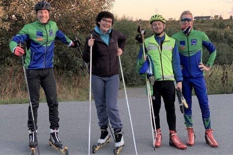 Inge-Harald Olsen (t.v.) tok med den nye kultursjefen Elena Yakovleva på rulleskitrening. De to andre på bildet er Glenn Nilsen og Rudi Veines.