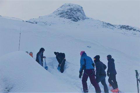 Bildet er tatt under skredkurs ved Store Kvittind i Austre Vågan. Deltakerne graver seg ned i snøen, for å se på de ulike snølagene.