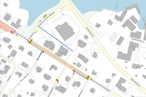 De nye kjøremønstrene i Gravdalsgata vil vare fram til 29. mars.