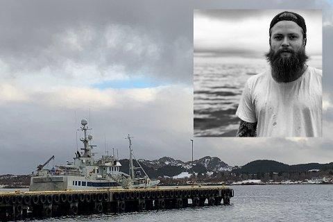 """Fisker Kyrre Nilsen (29, innfelt) var blant de åtte fra garnbåten """"Skjongholm"""" som ble syk av korona i mars. I fjor hoppet han på havet for å redde to fiskere."""