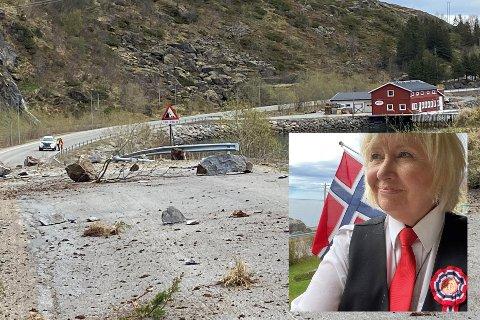 Bussjåfør og bursdagsbarn Lillian Hansen (64) var på vei med bussen fra Å til Leknes da steinraset gikk om morgenen 17. mai.