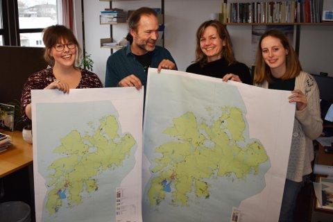 Folketallet i Vestvågøy økte i fjor. Her Eva-Mari Rahkola, Jochen Caesar, Heidi Bergsli og Guro Haug fra arbeidet med arealplan i 2019.