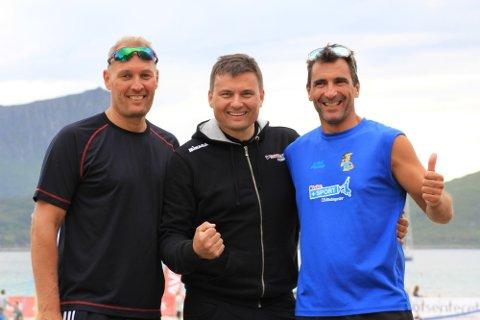 Stian Zakariassen (i midten) avbildet sammen med Werner Skaue og Soao Sousa sommeren 2018.
