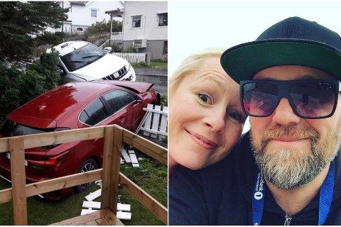 Hilde Grande og Leif Arne Andersen eier boligen der to biler braste gjennom hagegjerdet natt til tirsdag.