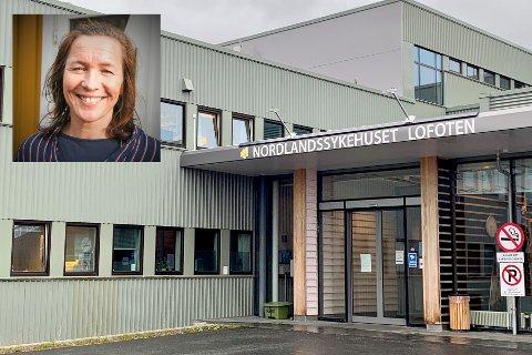 HR-rådgiver ved Nordlandssykehuset Lofoten Wenche Bøe (innfelt) forteller at det har vært en omfattende logistikk med å få vaksinert 390 ansatte ved sykehuset.
