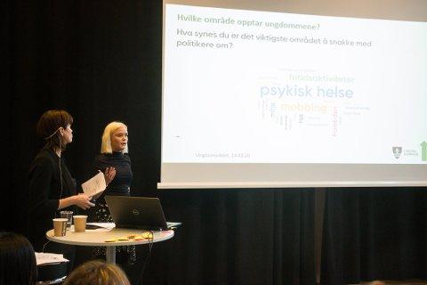 VERKSTED: Fra det første politiske verkstedet om kommuneplanen i Lyngdal. Prosjektleder Linn Øysæd Gyland til venstre og Maria Dragland, som representerte ungdomsrådet i fjor.