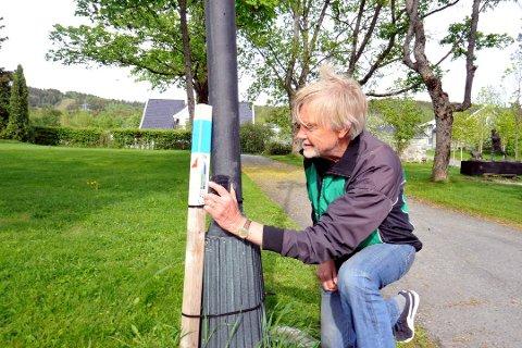 Jørn Prestsæter i Lillehammer Orienteringsklubb scanner strekkoden på en av stolpene det er blitt jaktet på i løpet av sommerhalvåret i Lillehammer.