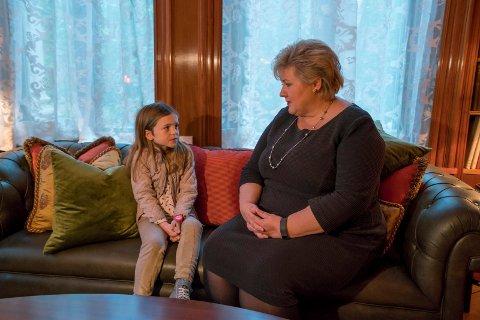 MØTE: Sol snakket med Erna Solberg om flyktningene i Syria.