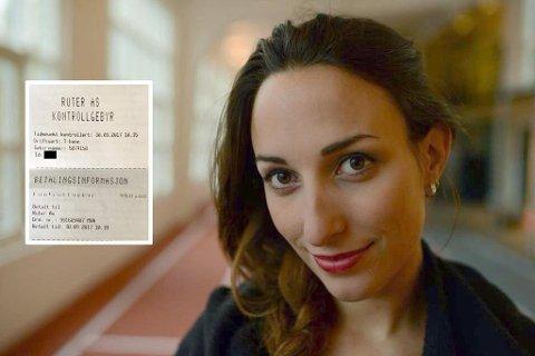 VANT: Mia Sundsfjord (32) slipper å betale boten på 950 kroner fra Ruter.