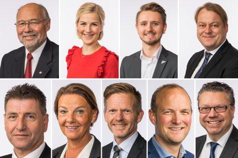 ØSTFOLD-BENKEN: Øverst fra venstre: Svein Roald Hansen (Ap), Elise Bjørnebekk-Waagen (Ap), Freddy André Øvstegård (SV) og Erlend Wiborg (FrP). Nederst fra venstre: Stein Erik Lauvås (Ap), Ingjerd Schou (H), Tage Pettersen (H), Ole André Myhrvold (Sp) og Ulf Leirstein (FrP)