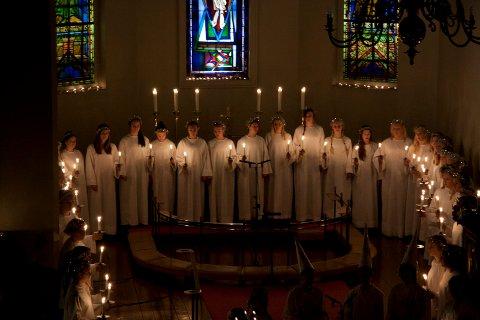 LUCIA: Stemningsfull tradisjon i Moss kirke.