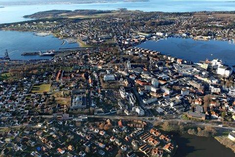 Moss sentrum Jeløy Oversiktsfoto Flyfoto