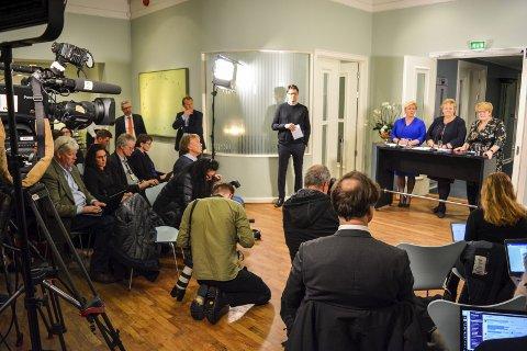 GRUNNLAGET: Plattformen for den nye regjeringskonstellasjonen ble skapt på Tronvik. foto: terje holm
