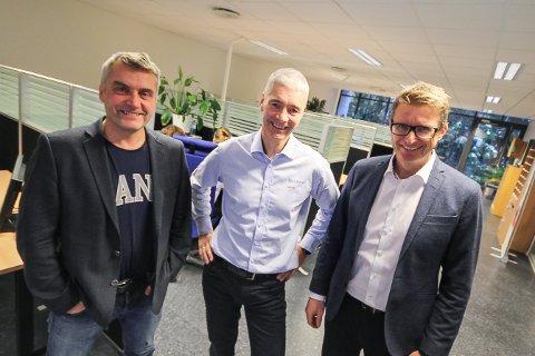 KJØPER MER: Columbi Microvokser gjennom nye oppkjøp. Fra venstre Jørn Petter Foldvik, Jens Erik Mjølnerød og Tor-Egil Kristensen.