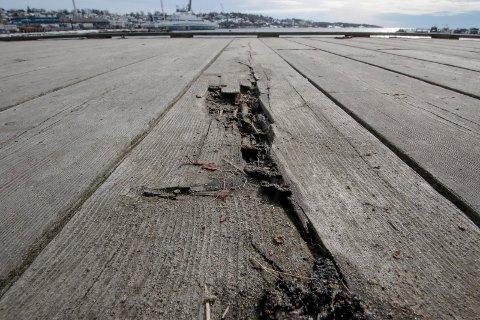 RÅTE: Det er store råteskader på strandpromenaden og bryggeanlegget ved Sjøbadet i Moss.