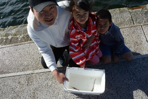 FISKELYKKE: Fv Son Cao, Iselin og Adrian liker å være ute og fiske sammen, selv om det ikke blir så ofte. Kantnål er det første gang de støter på.