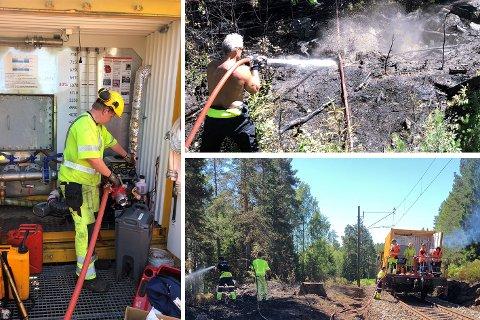 Det er ekstremt tørt på hele Østlandet, og Bane Nor setter inn ekstraordinære tiltak for å hindre branner langs togsporet.