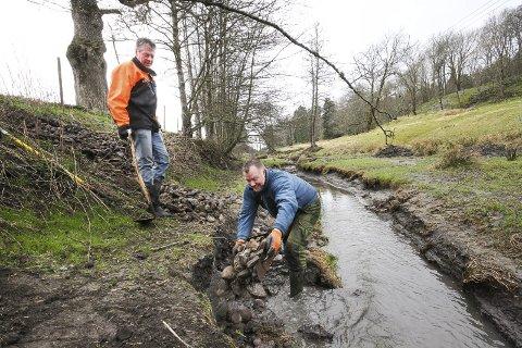 Naturvernere: Knut Rino Utne og Jan Petter Mellum (t.v.) rydder bekker i Rygge og bidrar til liv i vannet. Ikke alle andre steder ser det like bra ut.