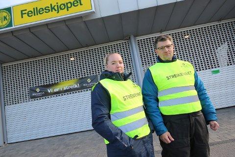 STOR STREIKEVILJE: Mari Winger og Jan Øivind Bøhler er innstilt på å streike for å vinne fram med  kravene om at dagens avtalte rettigheter ikke skal svekkes. Streiken betyr at butikken i Rygge  er stengt.