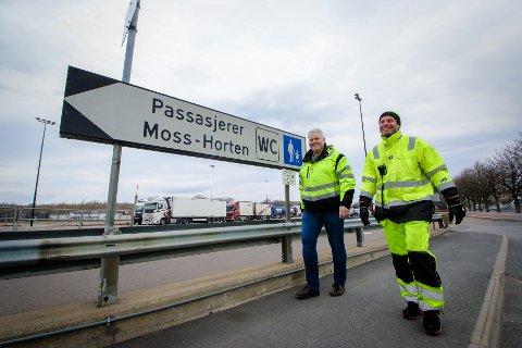 Bastø Fosen merker stor nedgang i persontrafikk under korona. Karl- Petter Lindahl, køordner Svein Roger Jacobsen, leder avd. Moss