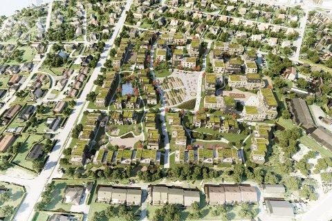 PLANENE: Slik skisserer Block Watne sine planer for å bygge ut Kallumjordet. Dyreveien nordover (oppover) mot Moss er den store veien til venstre i illustrasjonen.