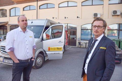 KLARE: Styreleder Per Morten Danielsen (t.h.) og daglig leder Stian Sundsvalen i Ferder Taxi vil innta Moss.