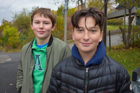 IVRIGE: I løpet har helgen har Håkon Horntvedt(tv.) og Marius Ravenshorst stått flere timer ute for å samle inn penger til TV-aksjonen.