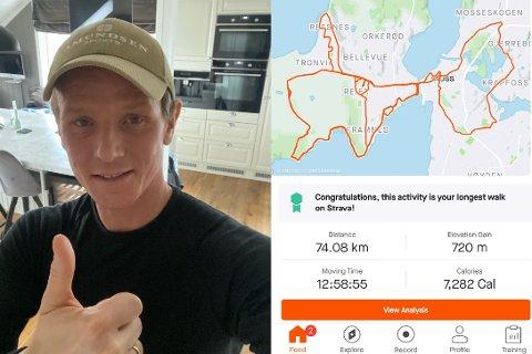 RUNDEN: Dette er turen Christer Jensen gikk i 13 timer tirsdag 23. februar.