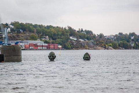 TO PÅ PLASS: Nå er to smilende fjes på plass ved Sjøbadet.
