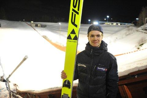 OPPLØFTENDE: Leonard Taubert sikret seg tredjeplass i norgescup i hopp søndag.