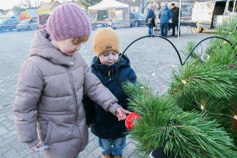 JULEMARKED: Ingrid Aakervik Walaunet (5) og lillebror Sigurd Aakervik Walaunet (3) syntes julekulene fra Vikna Husflidslag var kjempefine.
