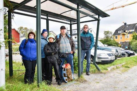 MISFORNØY: Trine Måøy, Lill Karin Aarvik, Rosa Mauset, Trond Torgersen og Tor Neerland jobber alle på Ytre Namdal vekst. De er ikke fornøyd med hvordan bussholdeplassen på Rørvik er per i dag.