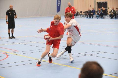 TO MÅL: Elias Engesvik (18) noterte seg med to mål mot LFH09 søndag ettermiddag. Her fra cupkampen mot Kolstad.