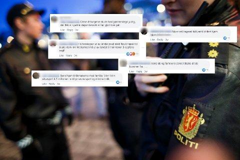 Tøff ordbruk: Volden i Oslo vekker sterke følelser hos mange. Dette er fra et kommentarfelt på Facebook under en sak om Oslo-volden. De som er intervjuet i denne saken har ingenting med disse kommentarene å gjøre.