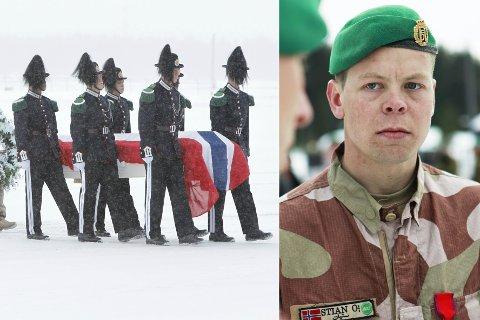FALLEN SOLDAT: Bilde av båren med avdøde soldat Joachim Olsson. Olsson mistet livet da panservognen han satt i kjørte på en veibombe i Afghanistan i januar 2010. Stian Mo var vognkommandør for panservognen.