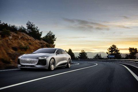 Audi A6 har vært en populær bil i Norge i flere tiår. Nå blir den snart elektrisk. Slik ser konseptbilen e-tron A6 concept ut. Men Audi lover at produksjonsmodellen, som kommer om et par år, ikke vil se særlig annerledes ut. Foto: sagmeister_potography