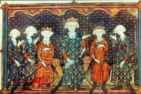AKTØRENE: Maleriet viser Filip 4. av Frankrike i midten med familien. Fra venstre: Filips barn Karl, Filip og Isablla, deretter Filip 4, selv, hans eldste sønn Ludvig, og hans bror Karl, som igjen er far til Filip 6. av Frankrike.