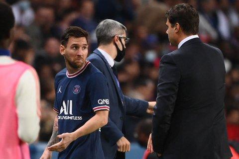 BYTTET UT: Lionel Messi ble overraskende byttet ut med et kvaret igjen av storkampen mot Lyon på søndag.