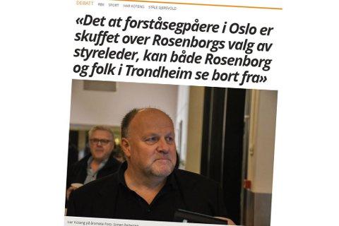 Ansvarlig redaktør Arne Reginiussen skrev kommentar etter årsmøtet i RBK.