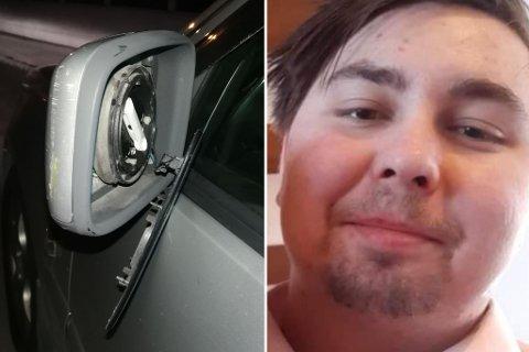 Speilet har fått store skader, men med Alexander Hirsch Johnsen og sjåføren gikk det bra.