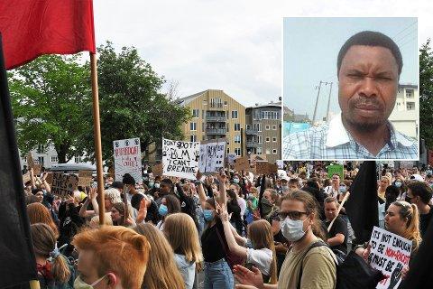 Demonstrasjoner i Trondheim. Innfelt Collins Obiora.