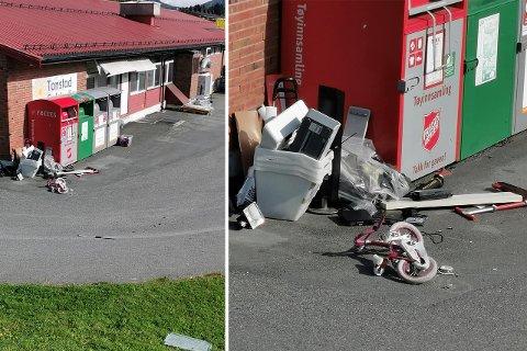 UPOPLÆRT: Tore Rønne stoppet likegodt og tok bilde av tilstandene utenfor nærbutikken. Han delte bildene på Facebook og fikk reaksjoner fra folk i nærmiljøet som har opplevd lignende.