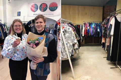 MÅTTE STENGE: Kjæresteparet på butikkens siste åpningsdag i Trondheim i fjor. Til høyre de nye lokalene i Oslo.