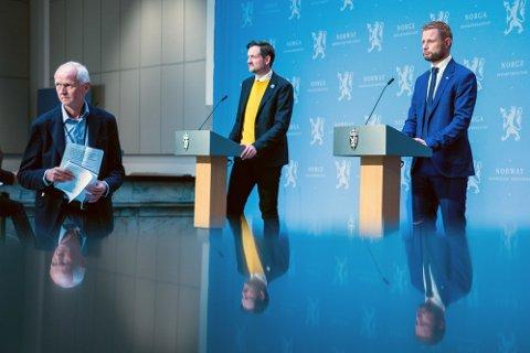 Har ulike prinsipper: FHI-topp Geir Bukholm, utviklingsminister Dag-Inge Ulstein og helseminister Bent Høie.