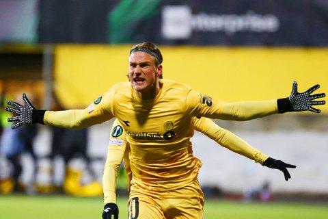 Erik Botheim scoret to ganger for Bodø/Glimt mot Roma torsdag.