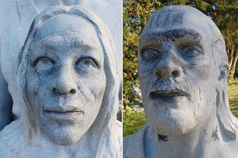 Eva Lillian Hugdal dokumenterte fredag hærverket som er gjort på statuen i Dalen aktivtetspark.