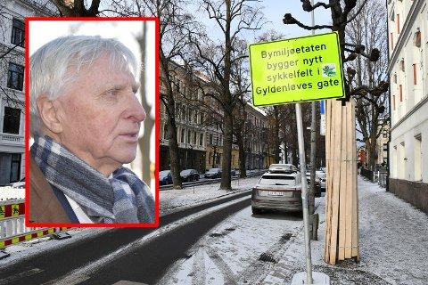 PROTESTERER: Arve Tellefsen bor i Gyldenløves gate. Han er ikke positiv til at gaten skal bli hovedsykkeltrasé.