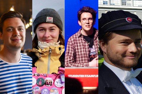 GJENGLEDERE: Truls-Petter Tofting, Nora Berg Markussen,  Bor de Kock og Håkon Gørbitz leder gjengene på Samfundet. Medlemmer som de skal tirsdag stemme over avtalen med Odd Reitans selskaper.