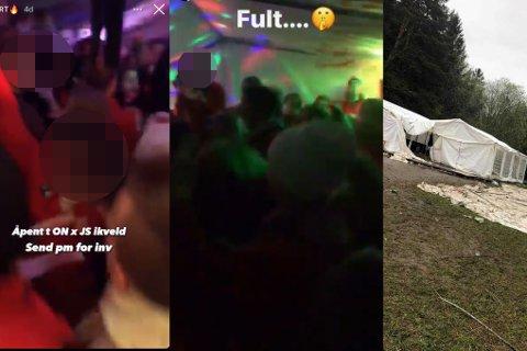 FULL FEST: Bildene Nidaros har sett viser at russen feiret tett i tett i et telt som de hadde satt opp i forbindelse med russetiden.