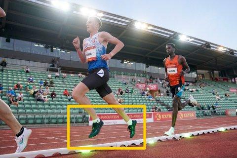 TERMINERTE KONTRAKTEN: Asics avbrøt avtalen med Sondre Nordstad Moen da han løp i Nike-sko på Bislett tidligere denne måneden. Foto: Stian Lysberg Solum / NTB